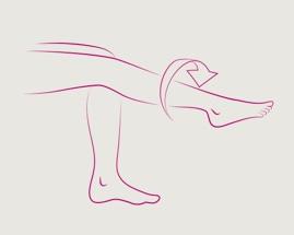 Ilustrația rotației piciorului în cadrul exercițiului 4 de gimnastica pentru vene