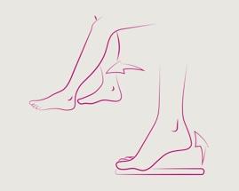 Иллюстрация скольжения ногой, показывающая упражнение 2 гимнастики для вен