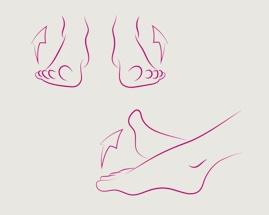 Значок: скручивание ноги, изображающая упражнение 3 гимнастики для вен