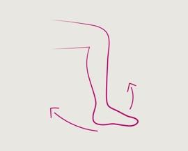 Значок: размахивание ногой в ходе упражнения для ног и ступней в целях предотвращения тромбоза